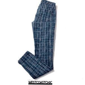 Cabi Blue/Gray Grid Skinny Jeans